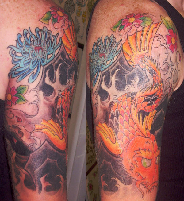 dragon waterfall tattoo. dragon waterfall tattoo. koi
