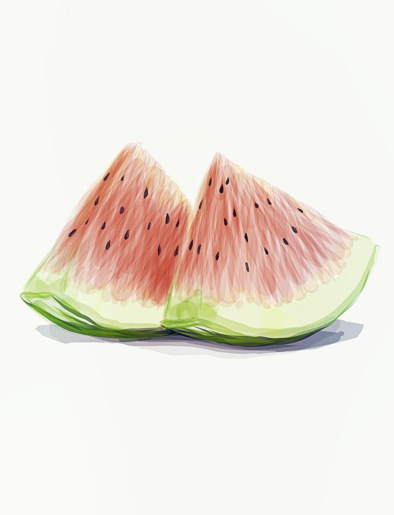 Food Illustration - Watermelon by razhbi
