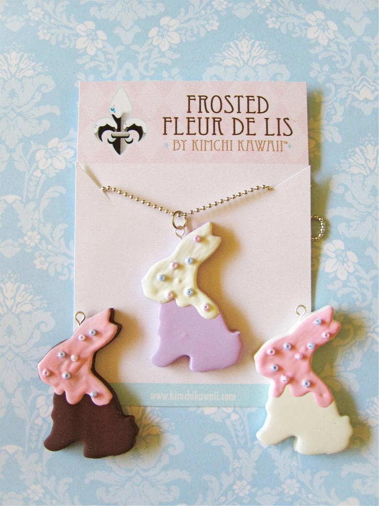 Bunny Cookie Necklaces by FrostedFleurdeLis