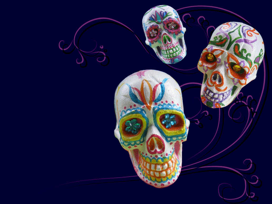 3d Sugar Skulls Wallpaper By Myrcury Art