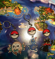 Sun and Moon starter keychains by MaddieLea