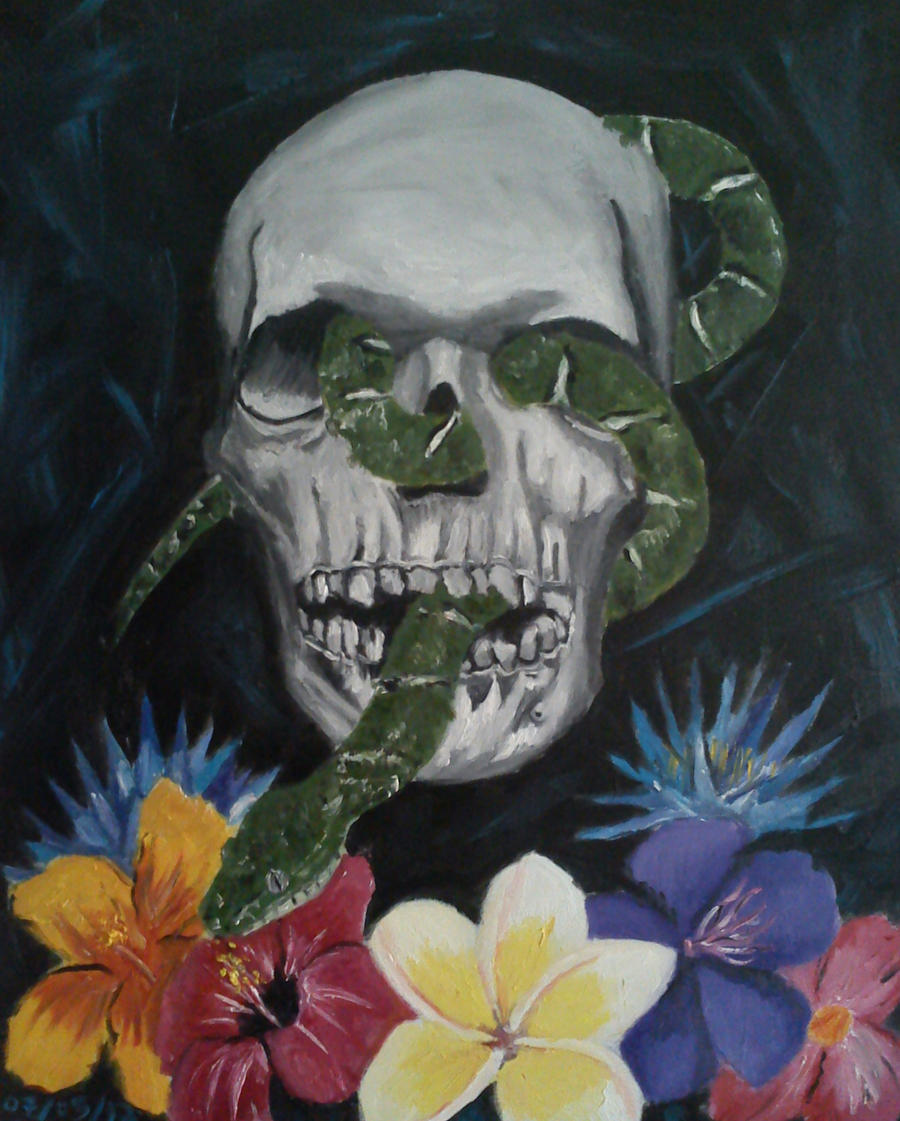 Skull and flowers by rkey1 on DeviantArt
