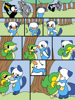 A Cute Snivy-X-Oshawott Comic (Digital w/ Color)