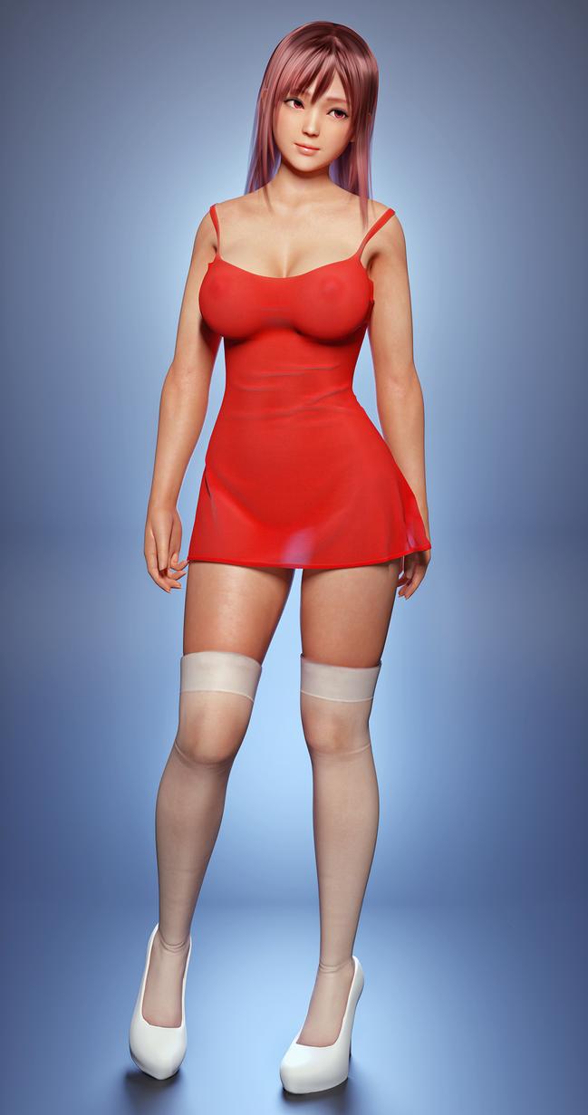 DoA - Honoka Little red dress