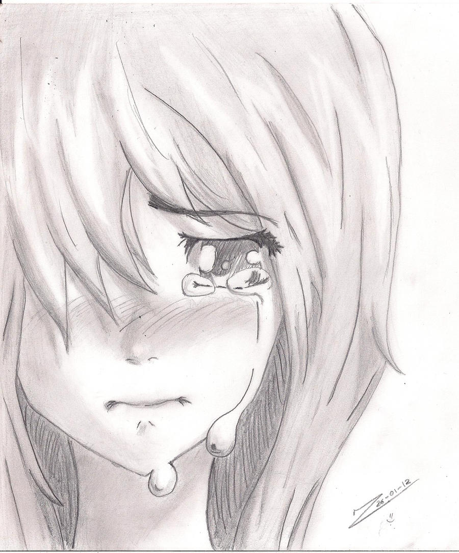 It is a photo of Exceptional Drawing Of Someone Crying