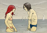 Snape and Lily at the sea