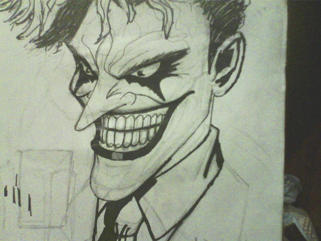 inked joker sketch by ThomasDrawsStuff