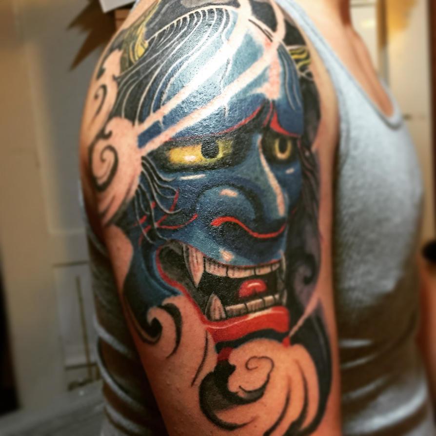 Blue Hannya Mask Tattoo by UltimateOshima
