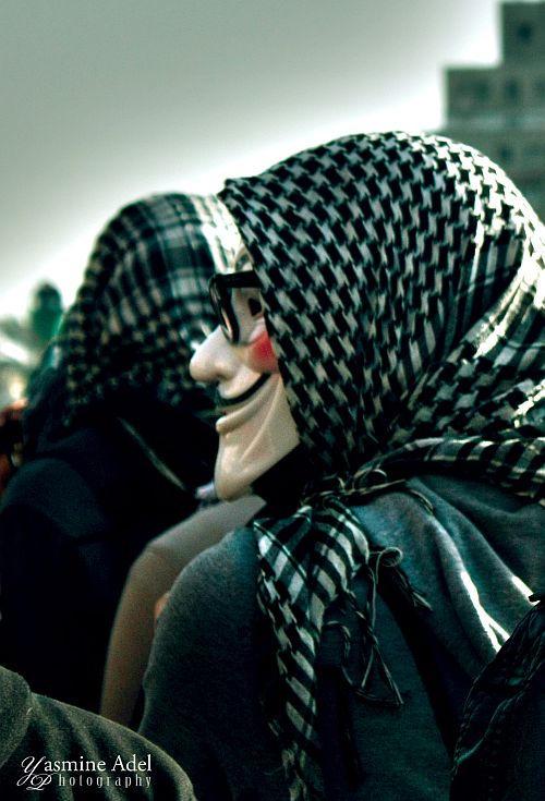 V for 'Egyption Revolution'