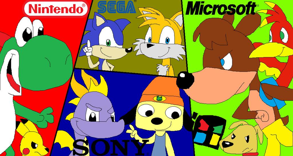 Nintendo VS SEGA VS Sony VS Microsoft By JustinandDennis