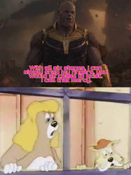 Fritz-Carlos and Hazel afraid of Thanos by JustinandDennis