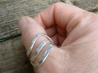 3 wave sterling silver ring by moonbeebz