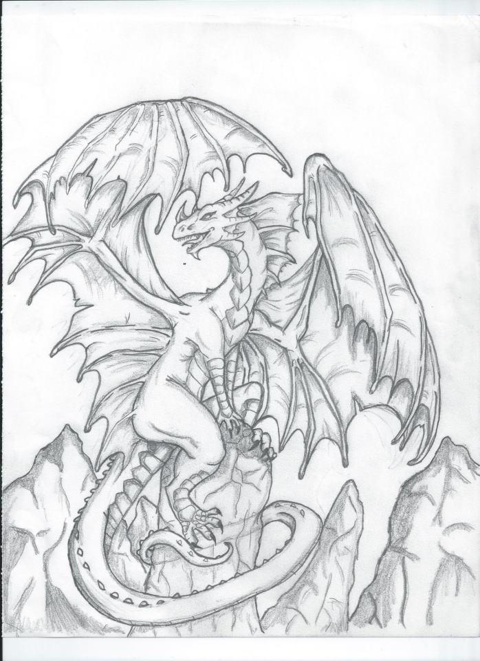 Full Body Easy Drawings Of Dragons Drawing Ideas