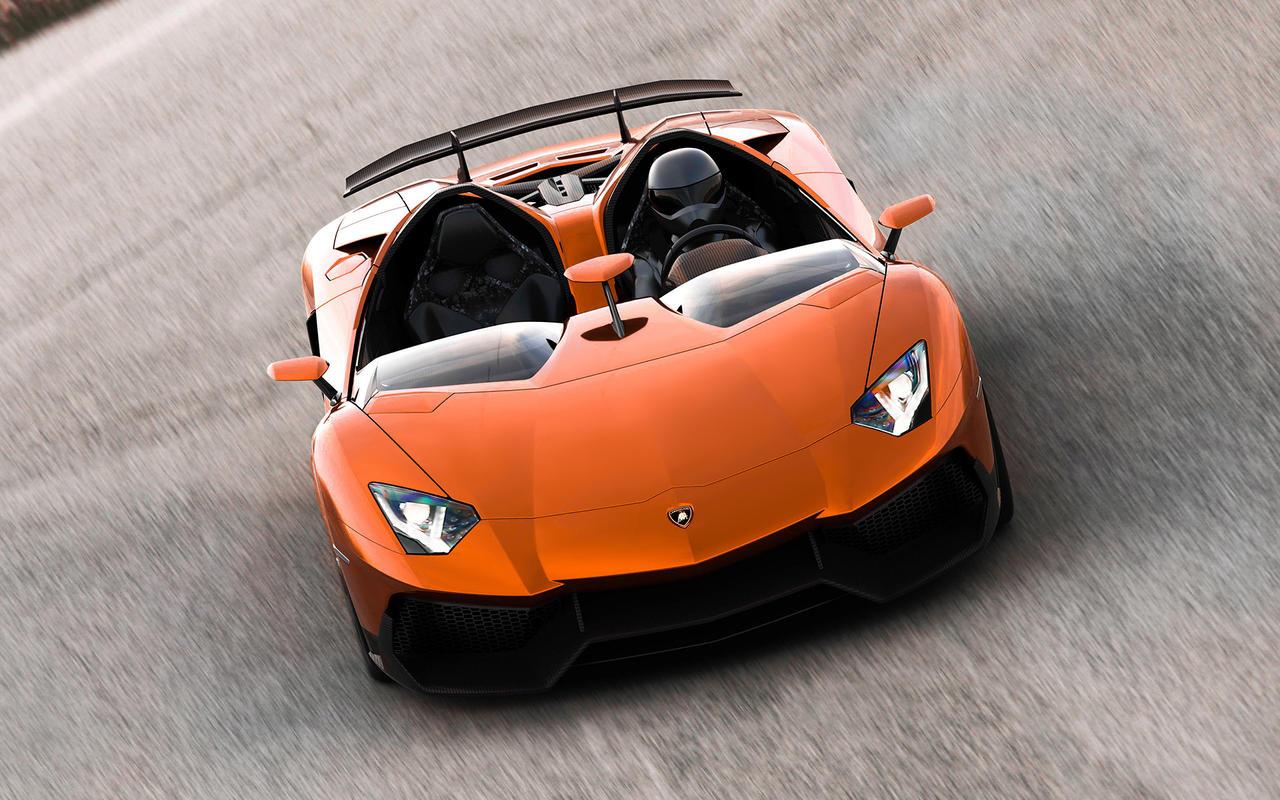 Orange Lamborghini Aventador J Concept by GLoRin26