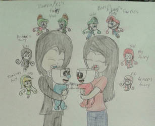 Me and Michael holding Baby Cuphead and Mugman by Mariascurra