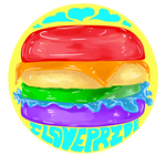 Yellow Rainbow Burger - I Love Pride