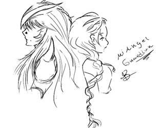 Melissa y Milo (Mi Angel Guardian) Boceto by Rikkua020399