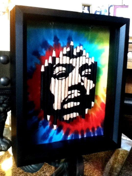 Jimi Hendrix pencil carving by mr-suzuki
