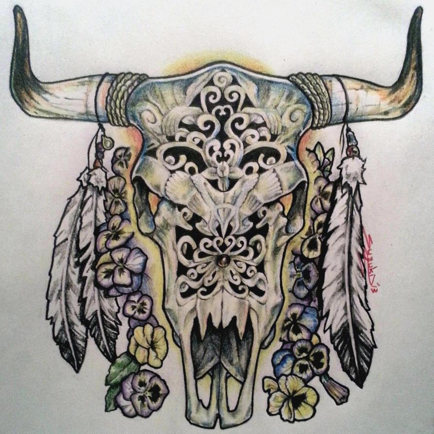 bull skull by mr suzuki on deviantart. Black Bedroom Furniture Sets. Home Design Ideas