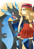 Serena and Mega Charizard X! by lilidoodle