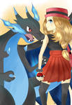 Serena and Mega Charizard X!