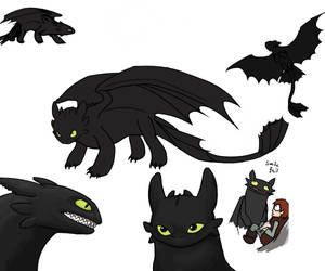 HTTYD: Toothless sketches by Pandadrake