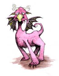 Fuzzy Pink Dragon by EvelArtGirl