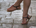 Ariadna's Pink and Black Flat Sandals I