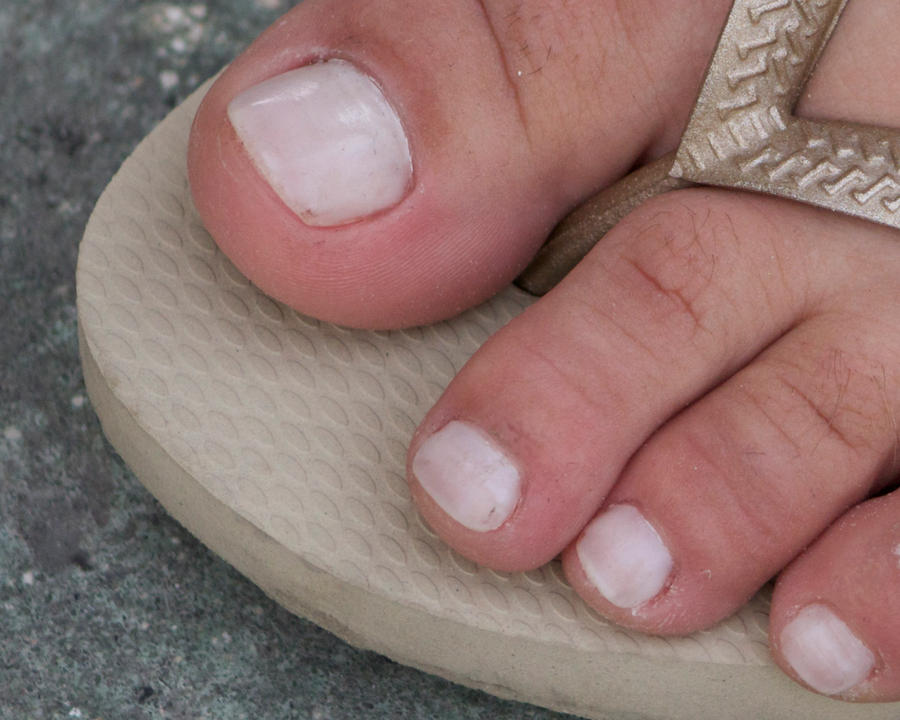 White Toenails Close Up by Feetatjoes