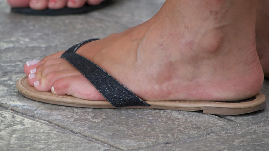 Senseless. Black women feet in flip flops toenails excellent and