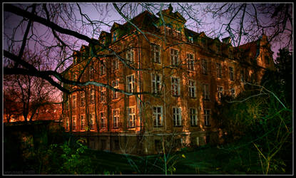 Old spooky house by night by borysses