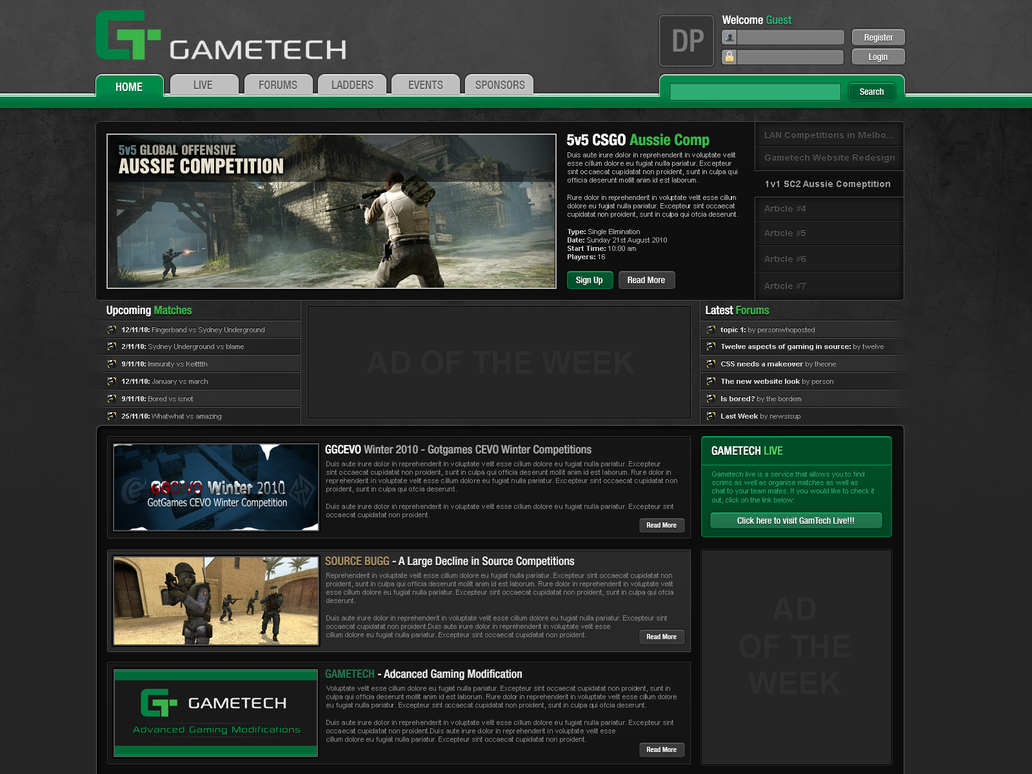 Gaming Website Template Design By Columaes On DeviantArt - Gaming website template
