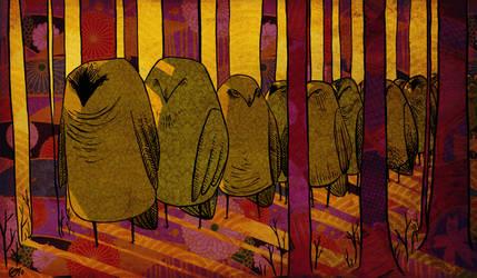 Owl procession by FoxyCharlie