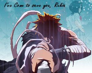 Ichigo saving Rukia by clare22