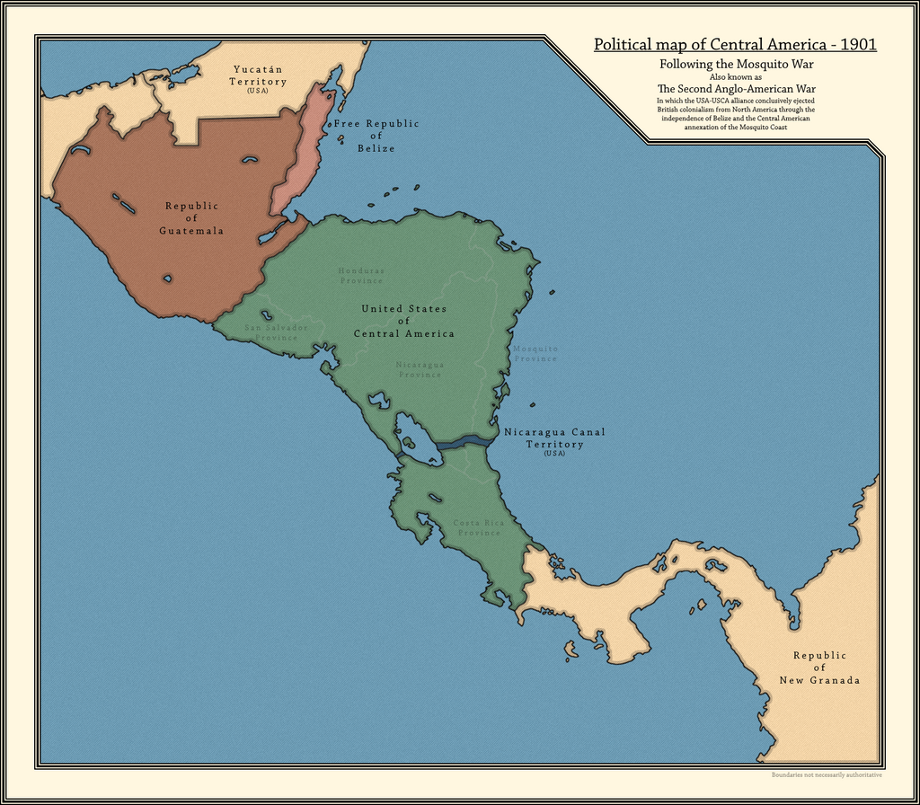 Political map of Central America in 1901 by jbkjbk2310 on ...