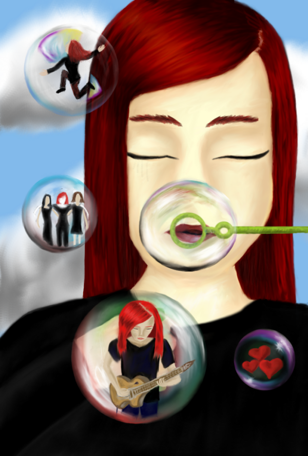 wish wishes young lady metal jump friends love red hair bubbles