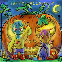Little chibis want you pass a happy halloween ! by Aikoryu-draw