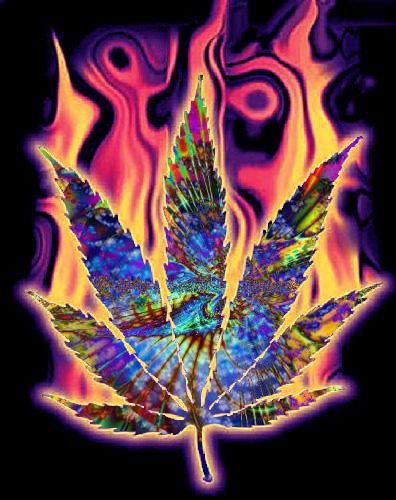Psychedelic Pot Leaf by xrockxxandxxrollerx