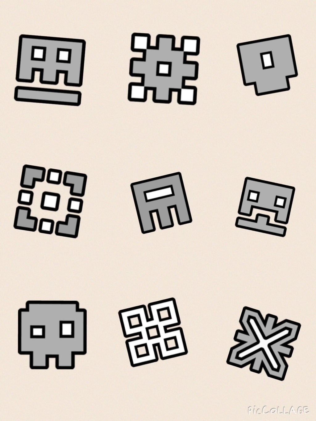 geometry dash icons of levels 1 9 by crashfab - Geometry Dash Icon Coloring Pages