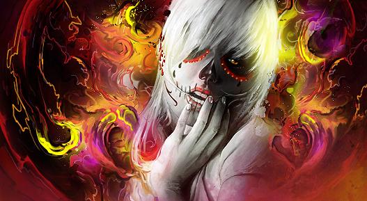 skull girl by iagoblack