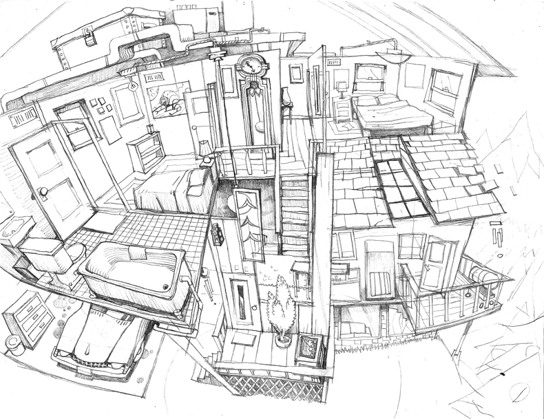 House interior pencil sketch by pesthdelinz on deviantart for Interior designs sketches