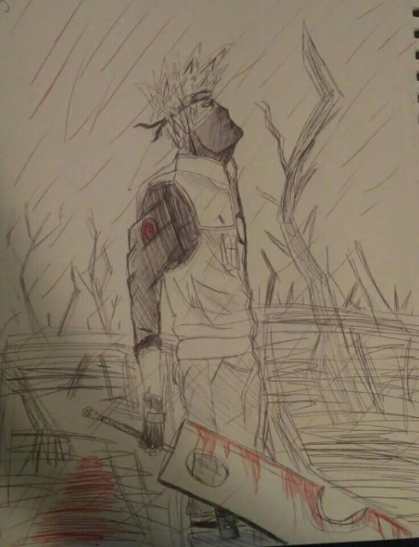 kakashi rain by DefiantAnime