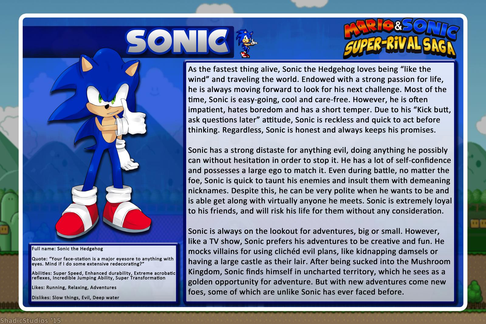 Super Rival Saga Character Profile Sonic By Shadicstudios On Deviantart