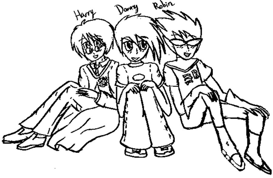 Line Drawing Robin : Line art harry danny and robin by jeanette a on deviantart
