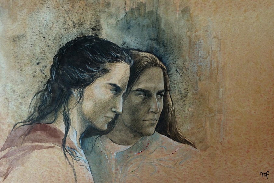 Celegorm and Curufin in Nargothrond by Filat