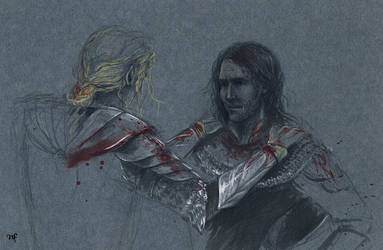 Rescue / Finrod and Barahir by Filat