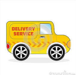 Cartoon Delivery Sertvice Van