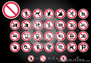 Prohibition signs set vector