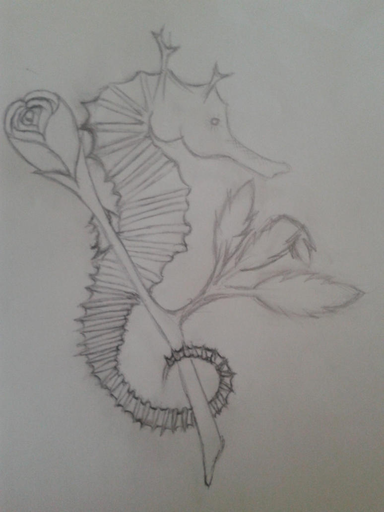 Seahorse Rose Tattoo Design Basic Template By