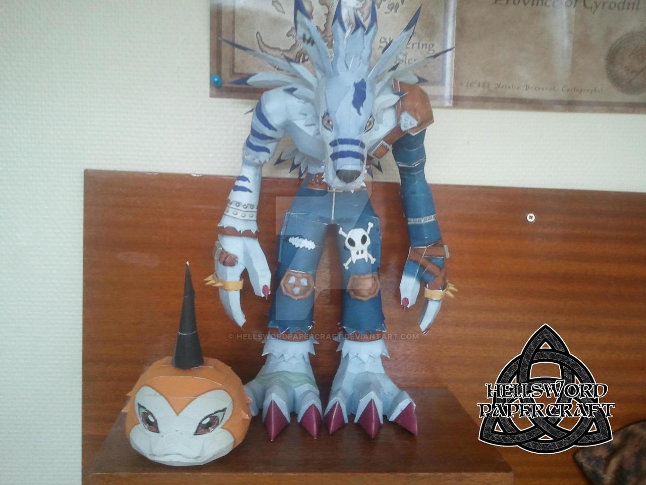 Digimon Tsunomon and WereGarurumon Papercraft by HellswordPapercraft